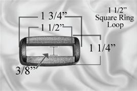"1 1/2"" Plastic Square Ring / Loops"